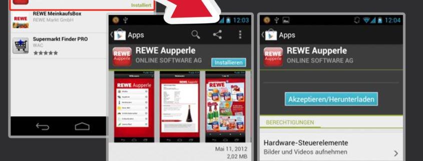 Beispiel REWE Aupperle Android app der Online Software AG