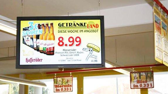 Digital Signage Display Angebot Heidebrecht Getränke