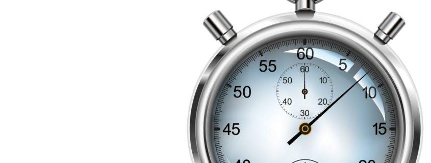 Timerfunktion von PRESTIGEenterprise Ansicht Stoppuhr und Schriftzug