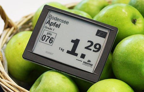 Electronic Shelf Labels Äpfel Preisauszeichnung