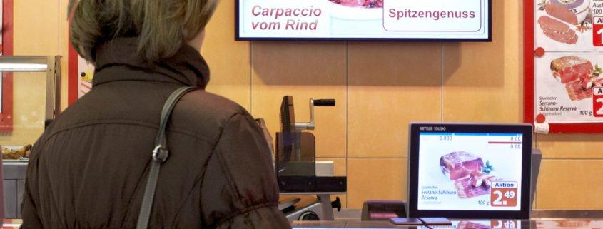 Hit Markt Fleischtheke Waagendisplay und Bildschirm