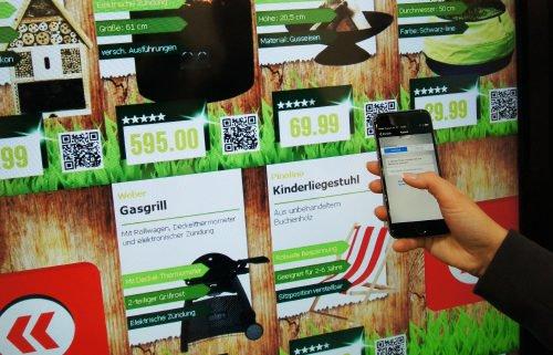 Infinity Shopping Shelf Grill Artikel mit Smartphone scannen