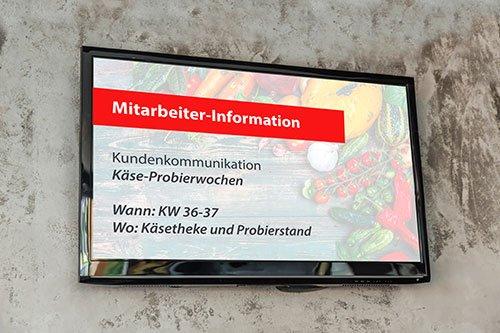 Display mit Mitarbeiter TV LEH DE Info