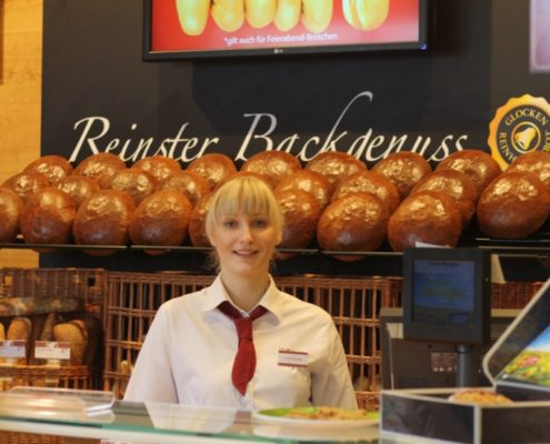 Digital Signage Glocken Baeckerei Display Werbung Back Shop