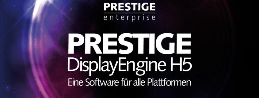 Grafik PRESTIGE DisplayEngine H5 mit Schriftzug und Logo