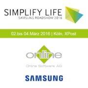 Plakat Samsung Roadshow mit OSAG Logo sowie Schriftzug Grafik und Termin