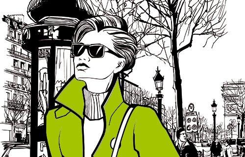 Cartoon Fashion Frau mit grüner Jacke läuft Strasse entlang