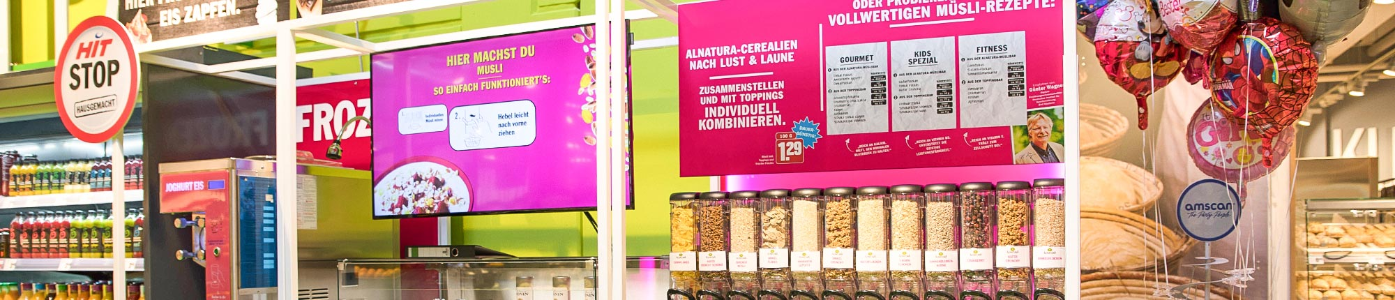 hit dohle digital signage bildschirm Frozen Joghurt panorama