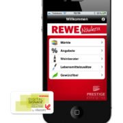 REWE Nüsken iPhone App mainscreen und Viscom Award 2010 Logo