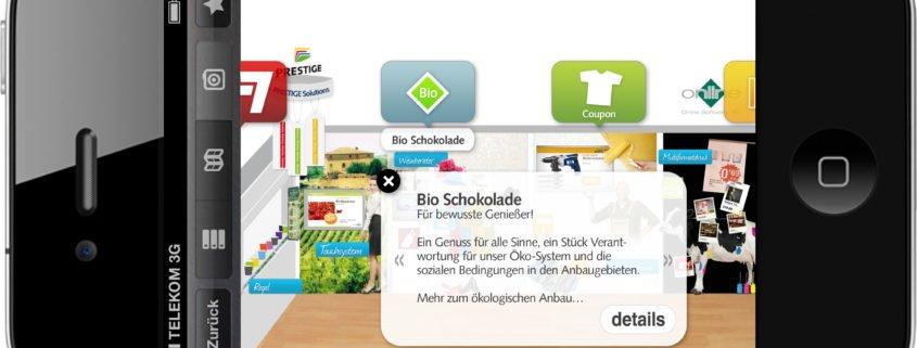 PRESTIGE Beispiel iPhone Augmented Reality BIO Schokolade