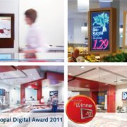 Collage Gold Winner Popai Digital Award 2011 Logo mit Marktbildern