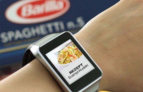 smartWatch Anzeige Beispiel Rezept Scampi Nudeln