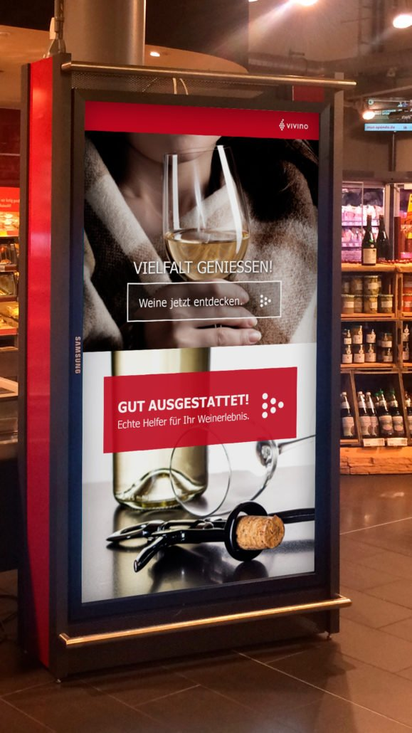 Multichannel Retail - Weinregal digitale Werbung