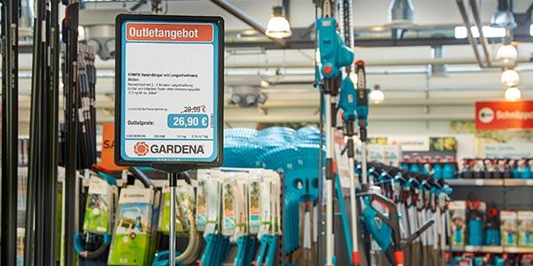 Angebotsplakat im A4 Aufsteller - Plakatdrucklösung bei DIY Experte Gardena
