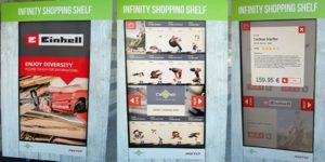 Digitales Regal mit Touchdisplay zum Abrufen von Zusatzinformationen für Baumärkte