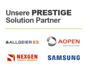 Logos der PRESTIGE Solution Partner Allgeier, Aopen, Nexgen und Samsung