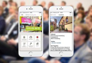 Screenshots der Event App vom PRESTIGE Partnertag der Online Software AG