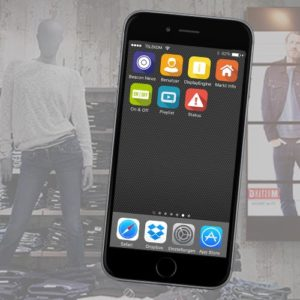 Smartphone mit Apps über die PRESTIGE-API
