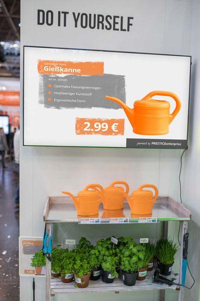 Bildschirmwerbung im DIY Bereich am Stand der Online Software AG auf der EuroCIS 2018