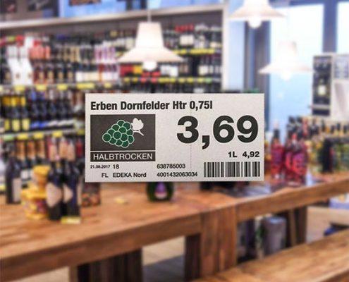 Rotweinetikett bei EDEKA Nord mit Symbol für halbtrockenen Wein, Preis und Barcode