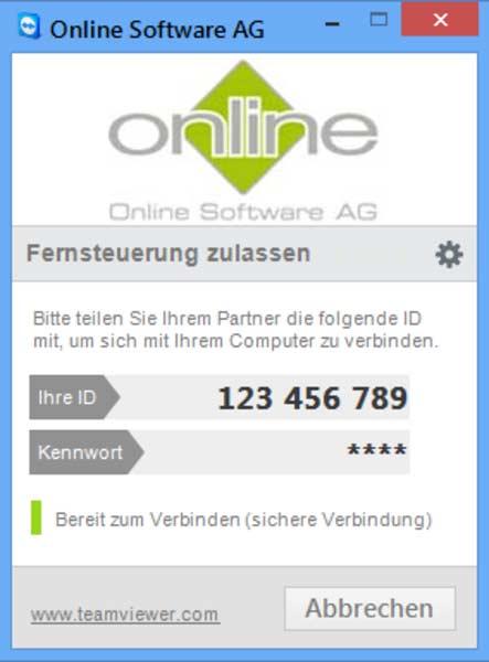 Teamviewer Secreenshot für direkten Support beim Kunden