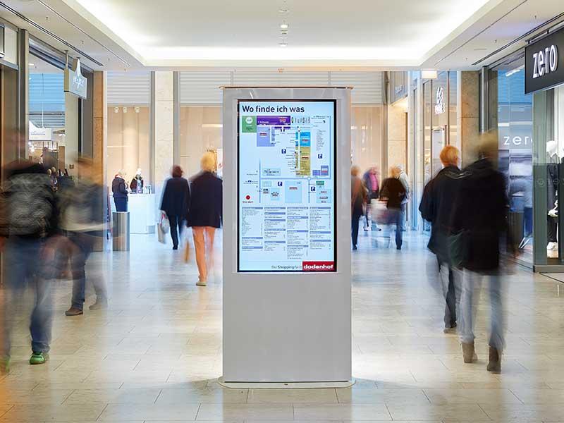 Wegweiser, Kunden-Leitsystem im Einkaufscenter dodenhof