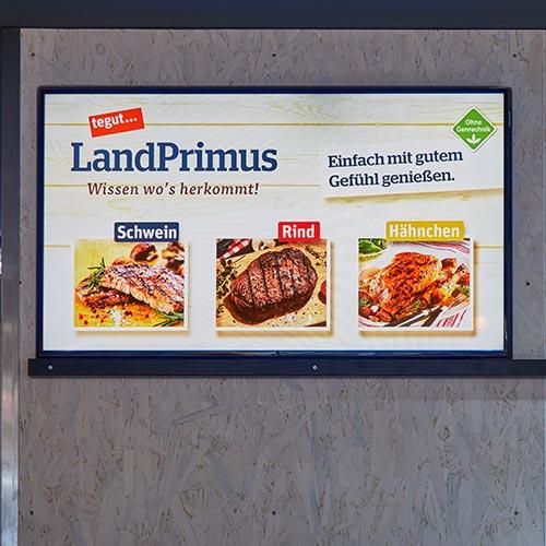 Instore TV - LandPrimus Werbung auf Bildschirm