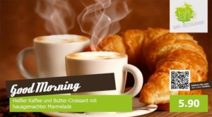 Online Software - zwei Kaffeetassen mit Crossaint