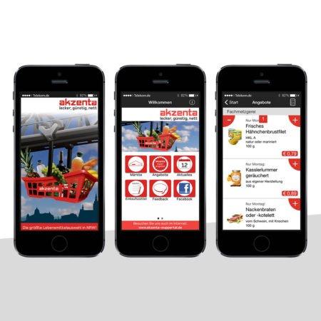 Ansichten der Akzenta Händler-App mit dem PRESTIGEenterprise AppBaukasten