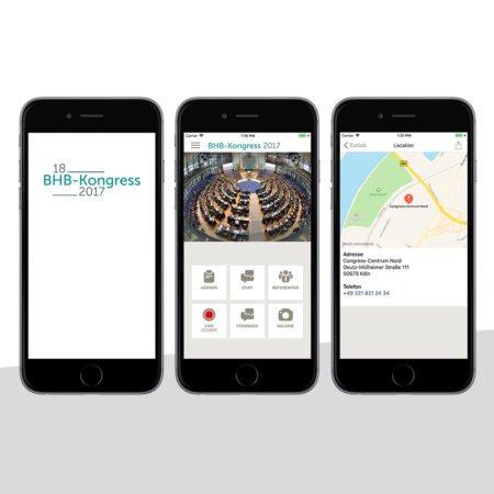 Ansichten der BHB Kongress App mit dem PRESTIGEenterprise AppBaukasten