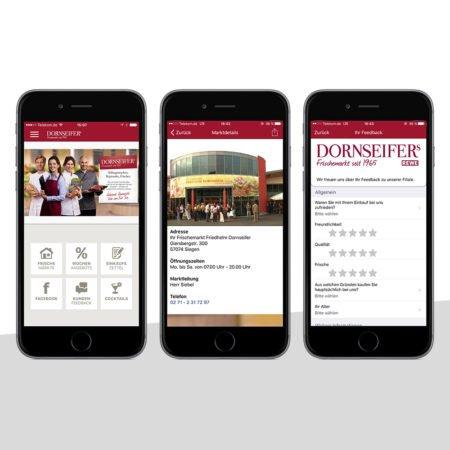 Ansichten der Dornseifer Händler-App mit dem PRESTIGEenterprise AppBaukasten