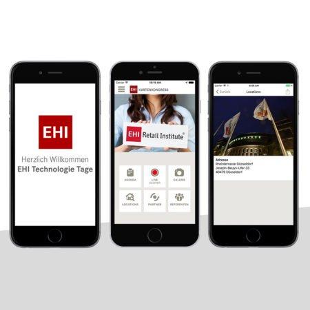 Ansichten der EHI Technologietage App mit dem PRESTIGEenterprise AppBaukasten