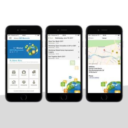 Ansichten der Global DIY App mit dem PRESTIGEenterprise AppBaukasten