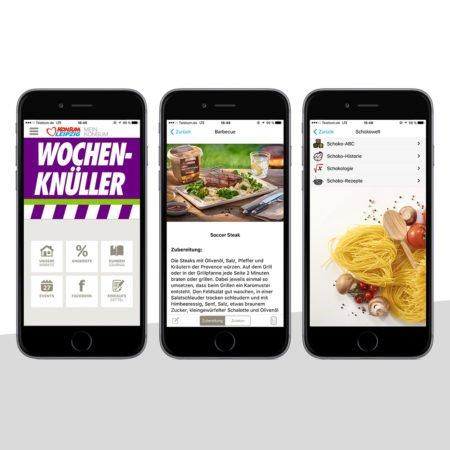 Ansichten der Konsum Leipzig Händler-App mit dem PRESTIGEenterprise AppBaukasten