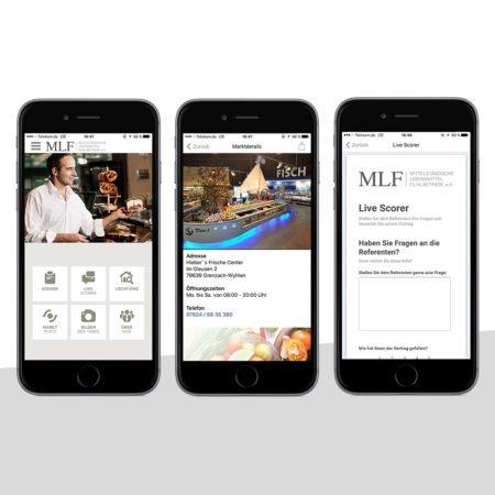 Ansichten der MLF App mit dem PRESTIGEenterprise AppBaukasten