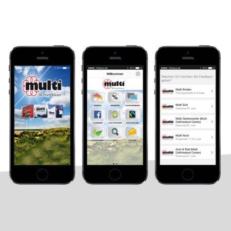 Ansichten der Multimarkt Brahms Händler-App mit dem PRESTIGEenterprise AppBaukasten