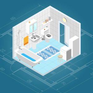 Badplanung und Küchenplanung auf großem Bildschirm