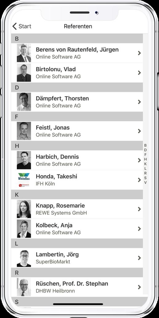 App PRESTIGE Partnertag 2020 - Ansicht der Referenten