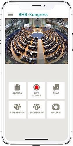 App BHB-Kongress App-Menü