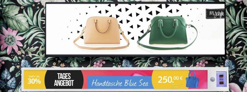 Definition von Digital Signage: Digitale Beispiel-Werbung mit Handtaschen