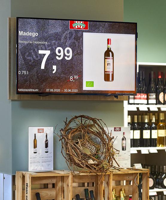 Supermarkt mit Samsung-Screen und Digital Signage